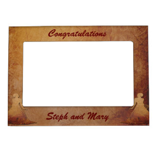 Flaming Red Rustic Frame Gay Wedding Gift Picture Frame Magnet