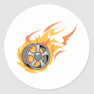Flaming Rim Classic Round Sticker
