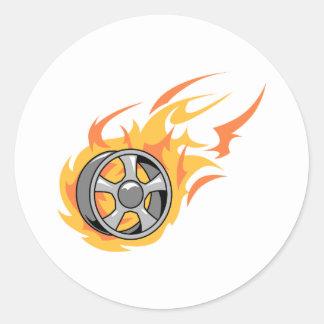Flaming Rim Round Sticker