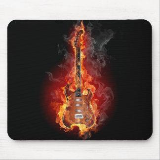 Flaming rock guitar mouse pad
