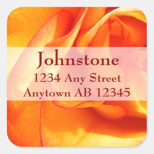 Flaming Rose Wedding Return Address Square Sticker
