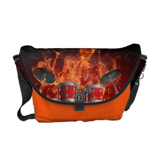 Flaming Skeleton on Drums Courier Bags