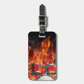Flaming Skeleton on Drums Easy ID Bag Tag