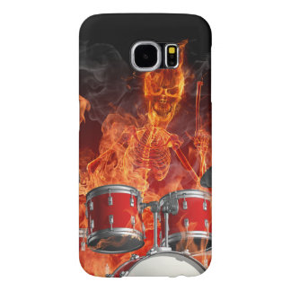 Flaming Skeleton on Drums Samsung Galaxy S6 Cases