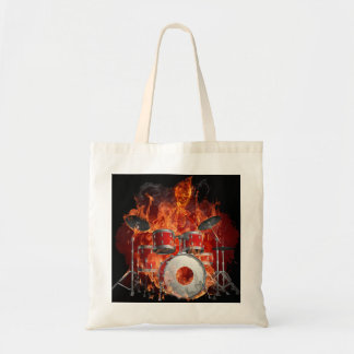 Flaming Skeleton on Drums Tote