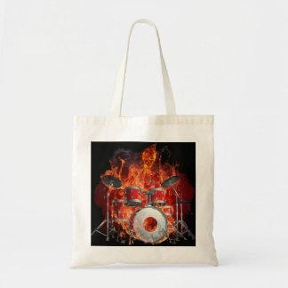 Flaming Skeleton on Drums Tote Canvas Bags