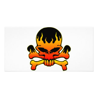 Flaming Skull and Crossbones Photo Cards