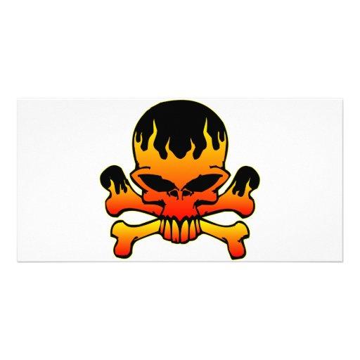 Flaming Skull and Crossbones Custom Photo Card