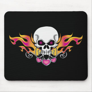 Flaming Skull and Hearts Mouse Pad