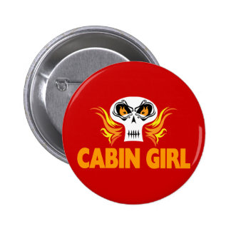Flaming Skull Cabin Girl Buttons