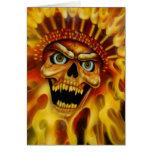 Flaming Skull Chief Birthday Card