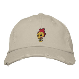 Flaming Skull Embroidered Hat