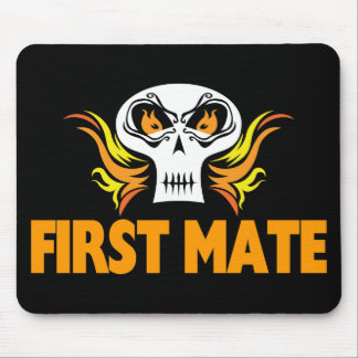 Flaming Skull First Mate Mouse Pad