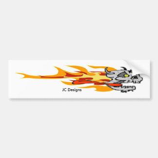 Flaming Skull, JC Designs Bumper Sticker