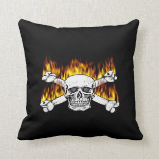 Flaming Skull Pillows Throw Cushion