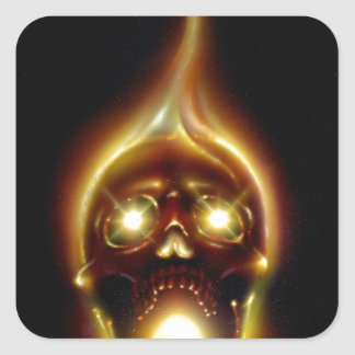Flaming Skull Square Sticker