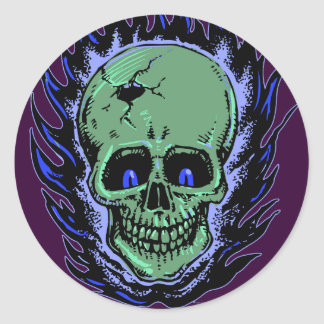 Flaming Skull Tattoo Classic Round Sticker