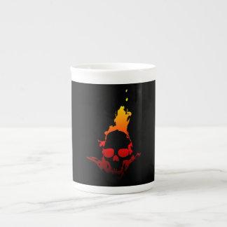 Flaming Skull Tea Cup