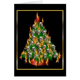 Flaming Skull Tree Card