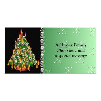 Flaming Skull Tree Photo Greeting Card