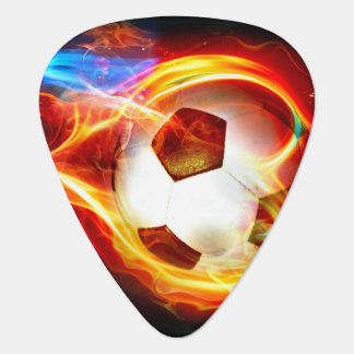 Flaming Soccer Ball Guitar Pick