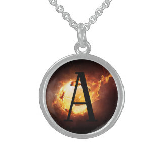 Flaming Soccer Ball Monogram Football Sterling Silver Necklace