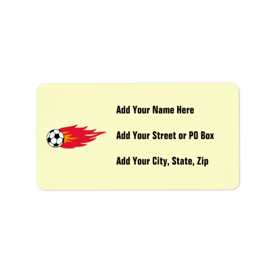 Flaming Soccer Ball T-shirts and Gifts Label