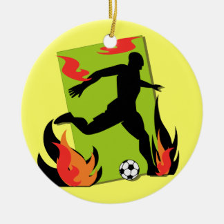 Flaming Soccer T shirts and Gifts Round Ceramic Decoration