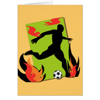 Flaming Soccer T shirts and Gifts Greeting Card