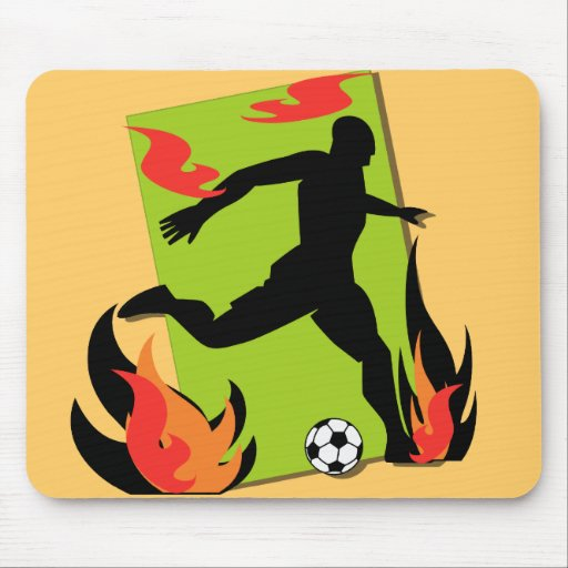 Flaming Soccer T shirts and Gifts Mousepads