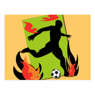 Flaming Soccer T shirts and Gifts Post Cards