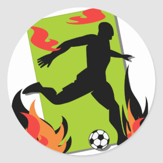 Flaming Soccer T shirts and Gifts Round Sticker