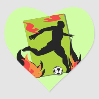 Flaming Soccer T shirts and Gifts Heart Sticker