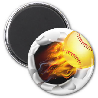 Flaming Softball Ball Tearing a Hole in the Backgr 6 Cm Round Magnet