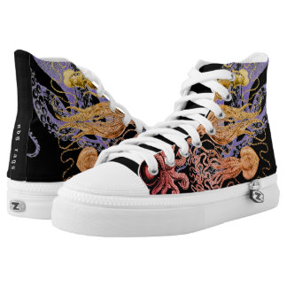 Flaming Squid High Tops