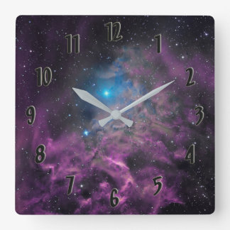 Flaming Star Nebula Square Wall Clock