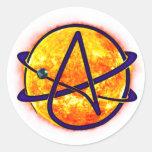 Flaming Sun Atheist Symbol Round Sticker