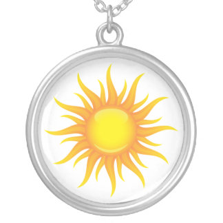 Flaming sun on a white background silver necklace