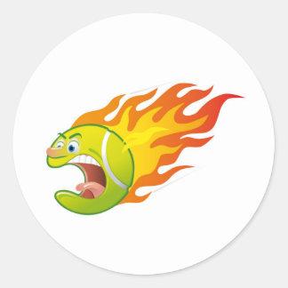Flaming Tennis Ball Classic Round Sticker