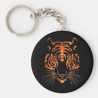 Flaming tiger key ring