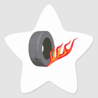 FLAMING TIRE STAR STICKERS