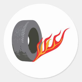 FLAMING TIRE ROUND STICKER