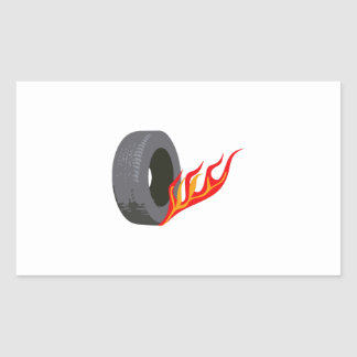FLAMING TIRE RECTANGLE STICKERS