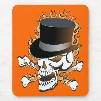 Flaming Top Hat Skull Mouse Pad