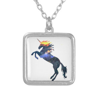 Flaming unicorn silver plated necklace
