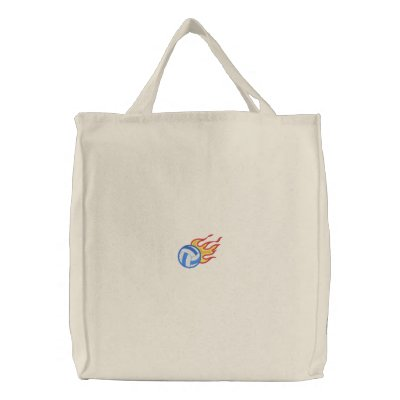 Flaming Volleyball Embroidered Tote Bag