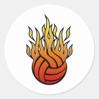Flaming Volleyball Round Sticker