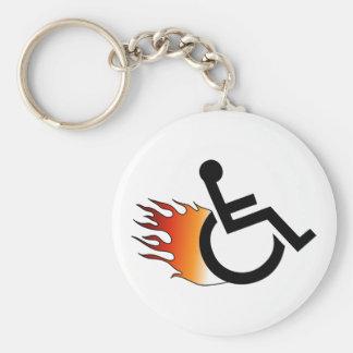 Flaming Wheelchair Key Ring