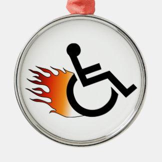 Flaming Wheelchair Metal Ornament