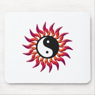 Flaming Yin Yang Sun Mouse Pad